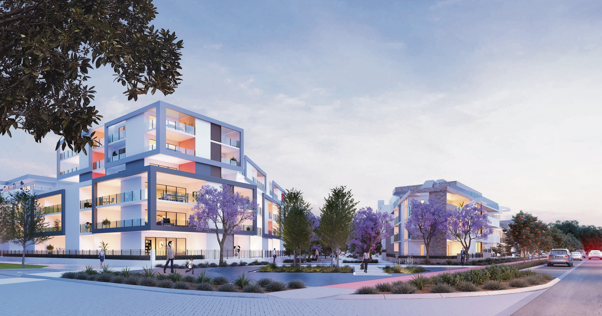 Artists' impressions of the Jolimont and high-rise Claremont sites after their development.