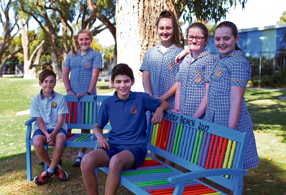 Trystan, Jessie, Noah, Kayah, Chloe and Alexis at the Buddy Bench at Whitford Catholic Primary School. Picture: Matt Jelonek d474976