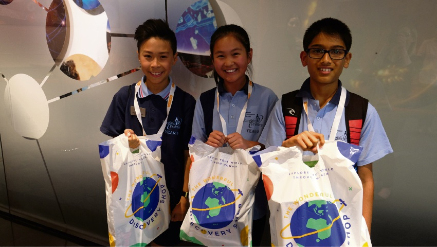 Ranford Primary School's Team Innovators: Randall Hung, Caitlin Bong and Rohan Sarda won second place during Scitech's Brainstorm Challenges.