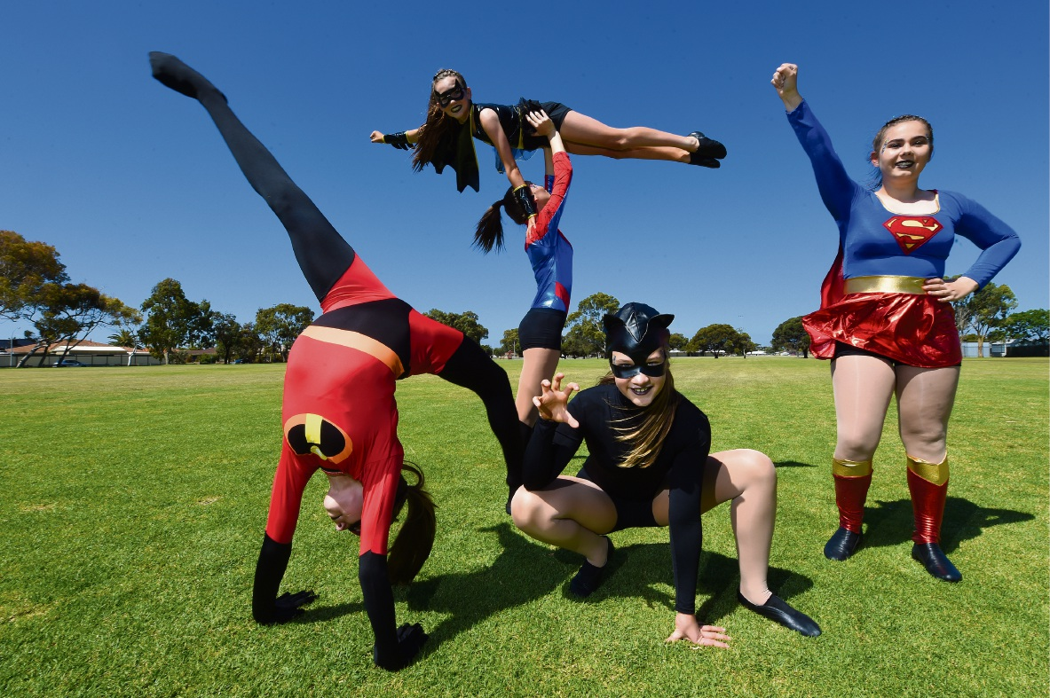 Jamine Stanley (Catwoman), Tenysha Young (Supergirl), Letitia Reeves (Mrs Incredible), Tamika Coppola (Spiderwoman) and Tori Wilcox (Bat Girl). Picture: Jon Hewson www.communitypix.com.au d475637