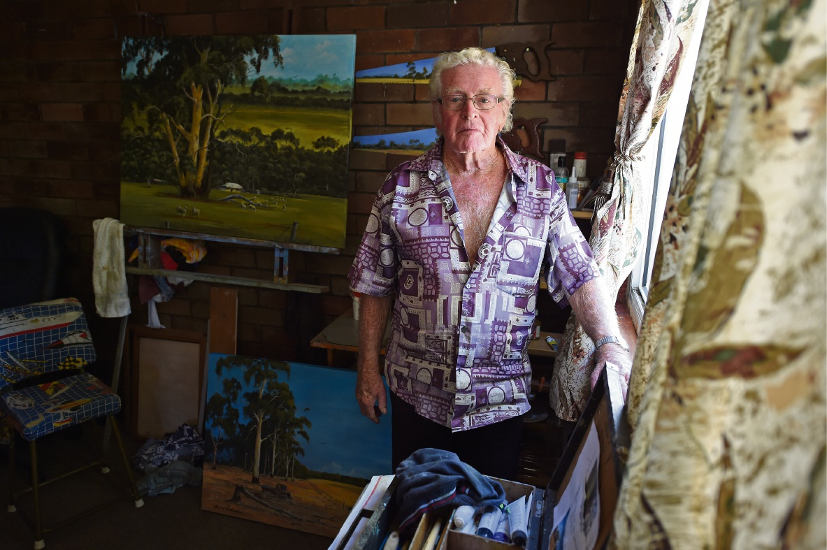 Parmelia artist John Richardson in his studio.