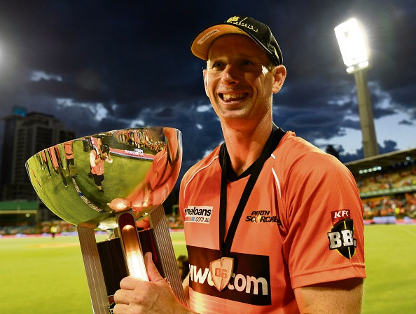 Adam Voges walks with the BBL trophy after winning the Scorchers won the Big Bash League match at the WACA Ground in January. Picture Stefan Gosatti/Cricket Australia/Getty Images