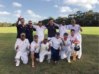 Canning Vale Cricket Club's third grade side celebrating the club's third premiership last season.