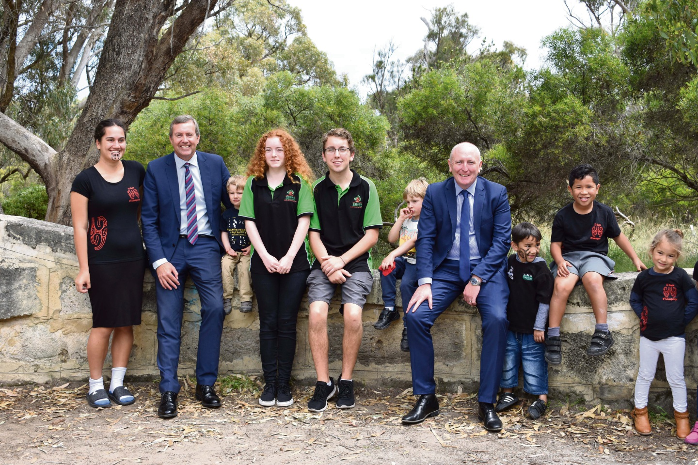 Reece Whitby and Environment Minister Stephen Dawson with locals.