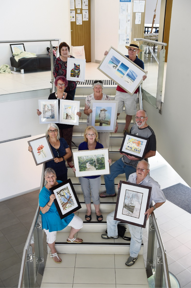 Rockingham Watercolour Society members with their paintings. Picture: Jon Hewson www.communitypix.com.au   d475611