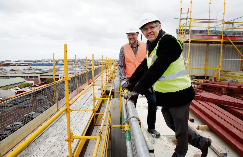 Fremantle Mayor Brad Pettitt with Defence Housing Australia senior development manager Cade Taylor. Picture: Marie Nirme d475312