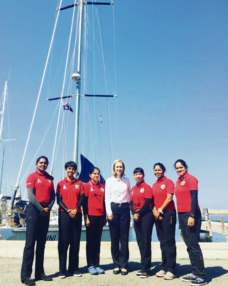 Fremantle MLA Simone McGurk (centre) with the crew of INSV Tarin.