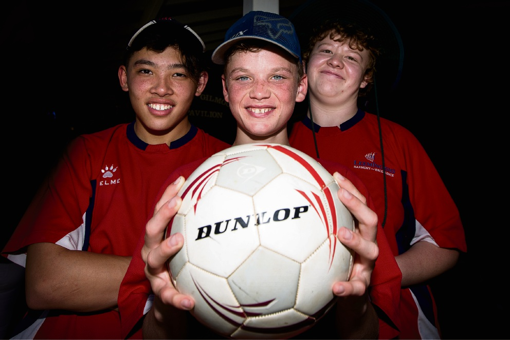 Leeming ESC students Tyler Lim, Dylan King and Christy Newton. Picture: Will Russell www.communitypix.com.au d475436