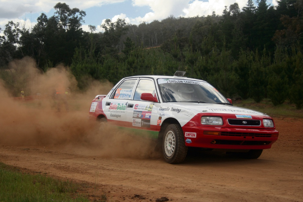 Terry Hughes and Monique Smith in action at the Safari Rally in Chidlow.