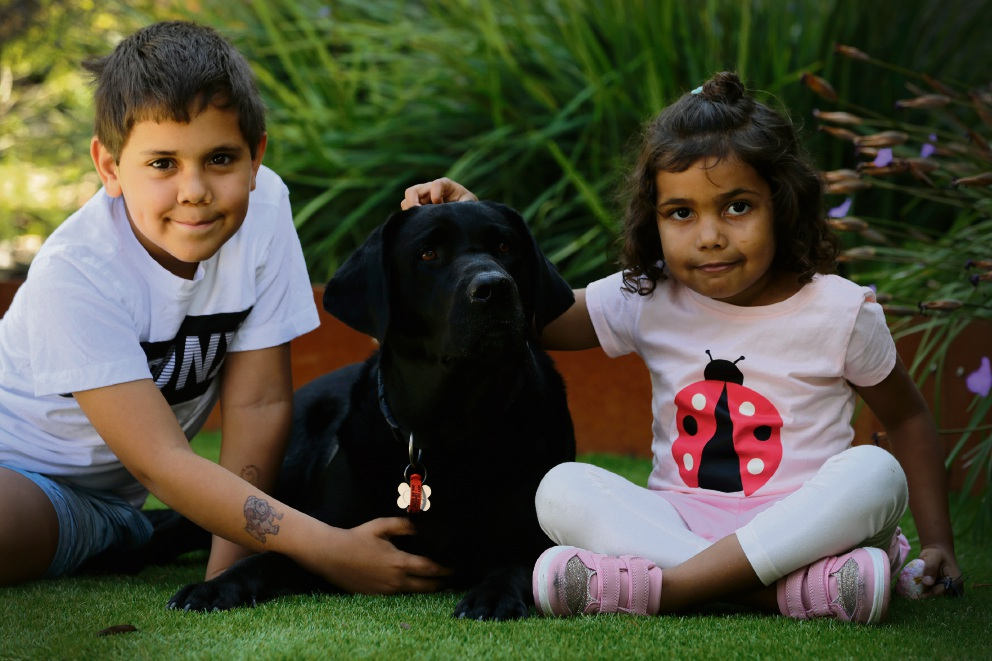 Zander Chesson (7) with Gus and Helen Hamlett (5) at Ronald McDonald House. Picture: Andrew Ritchie www.communitypix.com.au d475739