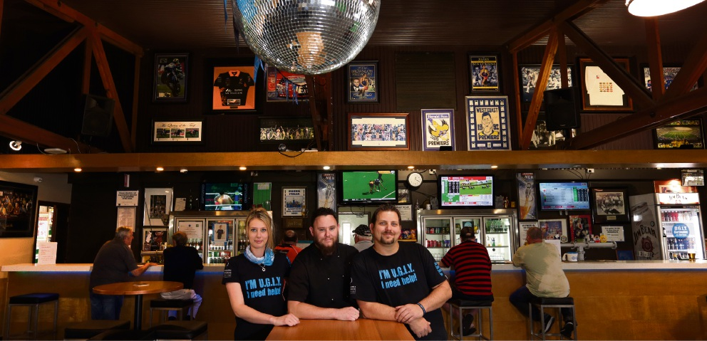 Barmaid Tahlia Harrison, chef Philip Edwy-Smith and manager Michael Riley. Picture: Martin Kennealey d475807