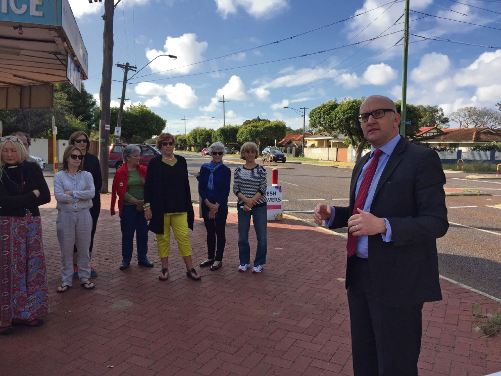 Mt Lawley MLA Simon Millman with residents at the corner of Central Avenue and Clifton Crescent.