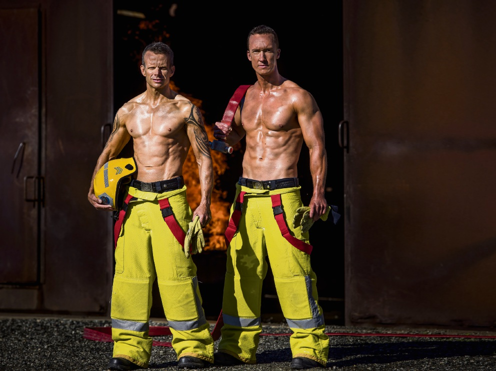 Mullaloo firefighter Shane Wood (right) with Phil Hall.