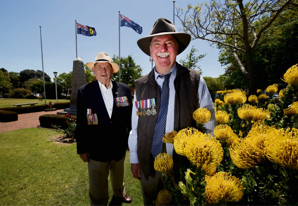 South Perth RSL branch president Justin Reagen (right) with veteran Graham Dolton (left) at the South Perth Memorial Park, which will host the annual Rememberance Day Commemoration on Saturday. Picture: Matt Jelonek www.communitypix.com.au d475729