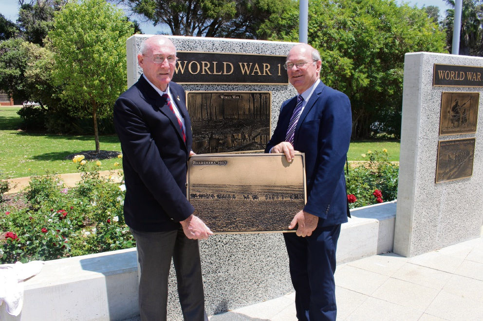 City of Belmont RSL president Alan Richardson and Mayor Phil Marks with the plaque.