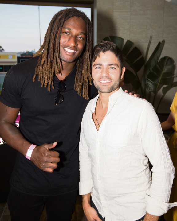 Nic Naitanui and Adrian Grenier. Picture: shotbythom
