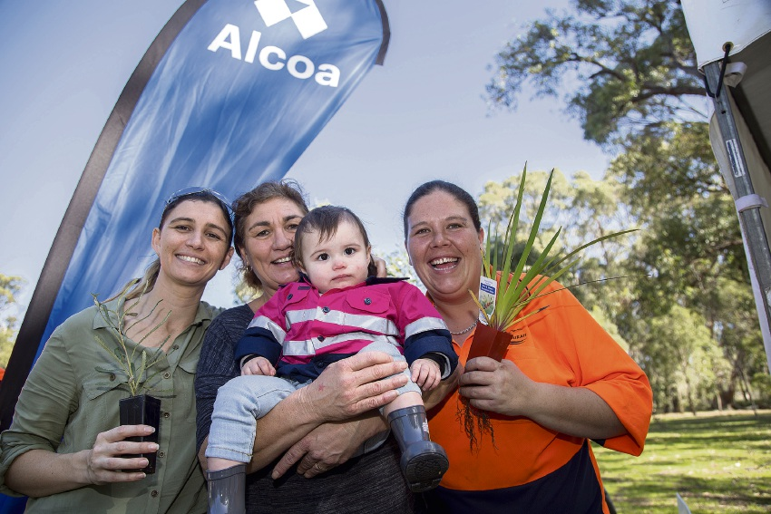Tegan Matheson, Jane Santamato, Willow Thomson and Jessica Thomson at the Alcoa-supported City of Mandurah National Tree Day earlier this year.
