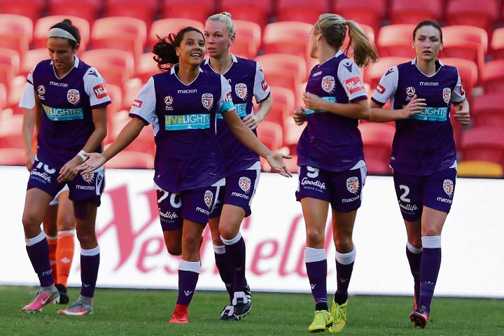 Glory skipper Sam Kerr celebrates a goal during the round 2 W-League match between Brisbane and Perth Glory on Sunday. Picture: Chris Hyde/Getty Images