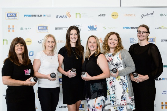 National Association of Women in Construction Awards winners Shelley Phillipson, of Scarborough (second from right) and Innaloo's Jenny Jones (third from right).