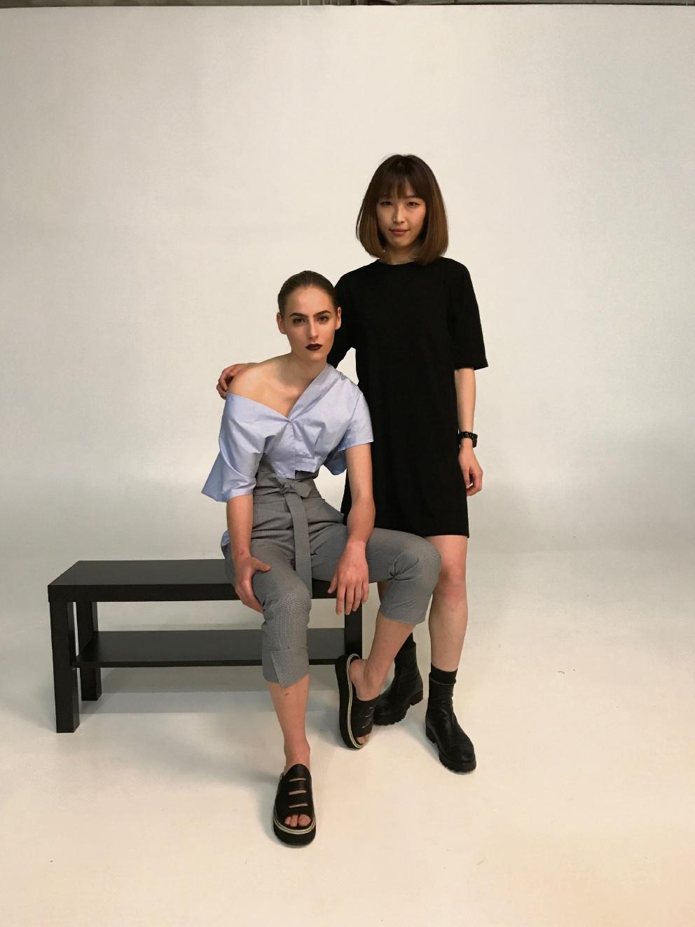 Model Caitline Brown with designer Rina Chen. Picture: Alan Chau