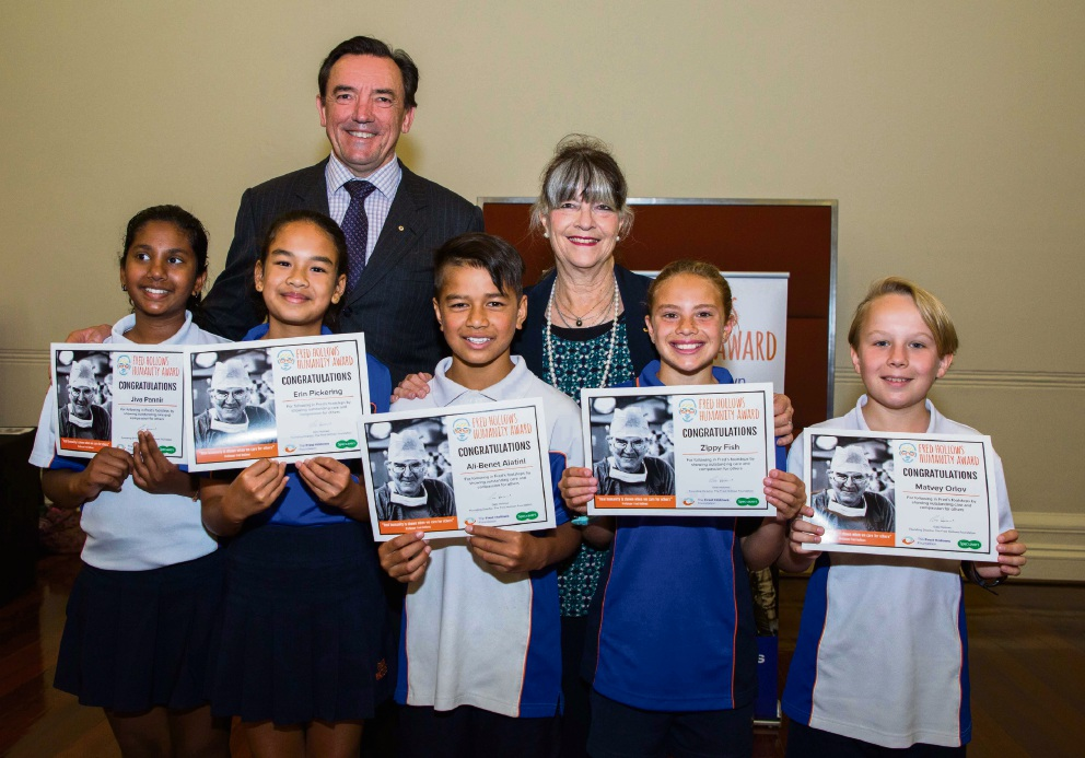Minister for Youth Peter Tinley with Jiva Piannir, Erin Pickering, Ali- Benet Alatini, Zipporah Fish and Matvey Orlov and Fred Hollows Foundation founding director Gabi Hollows.