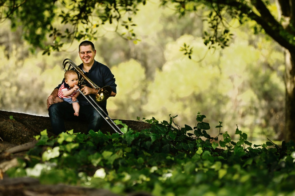WASO trombonist Joshua Davis with his son Mark. Picture: Andrew Ritchie d475727