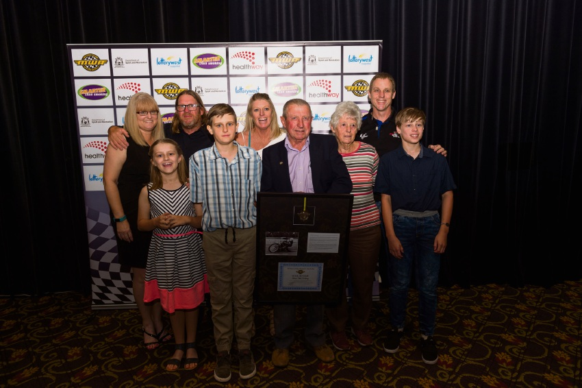 Bob O'Leary and family. Right: Motorcycling WA president Peter Clarke and Peter Hamer. Pictures: Gordon Pettigrew