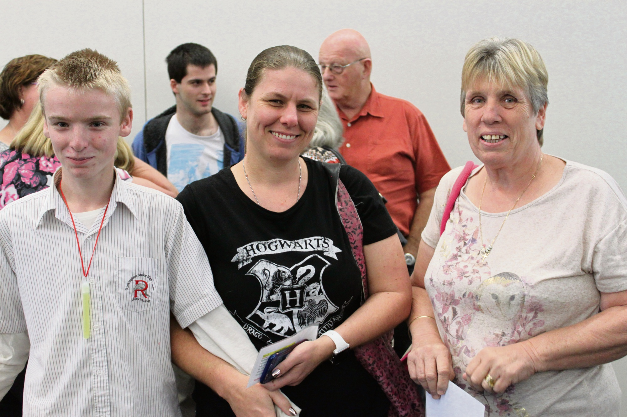 Year 8 student Matthew Clark (who won the Most Improved Award) with his mum Kelly Clark and grandmother Pat Clark.