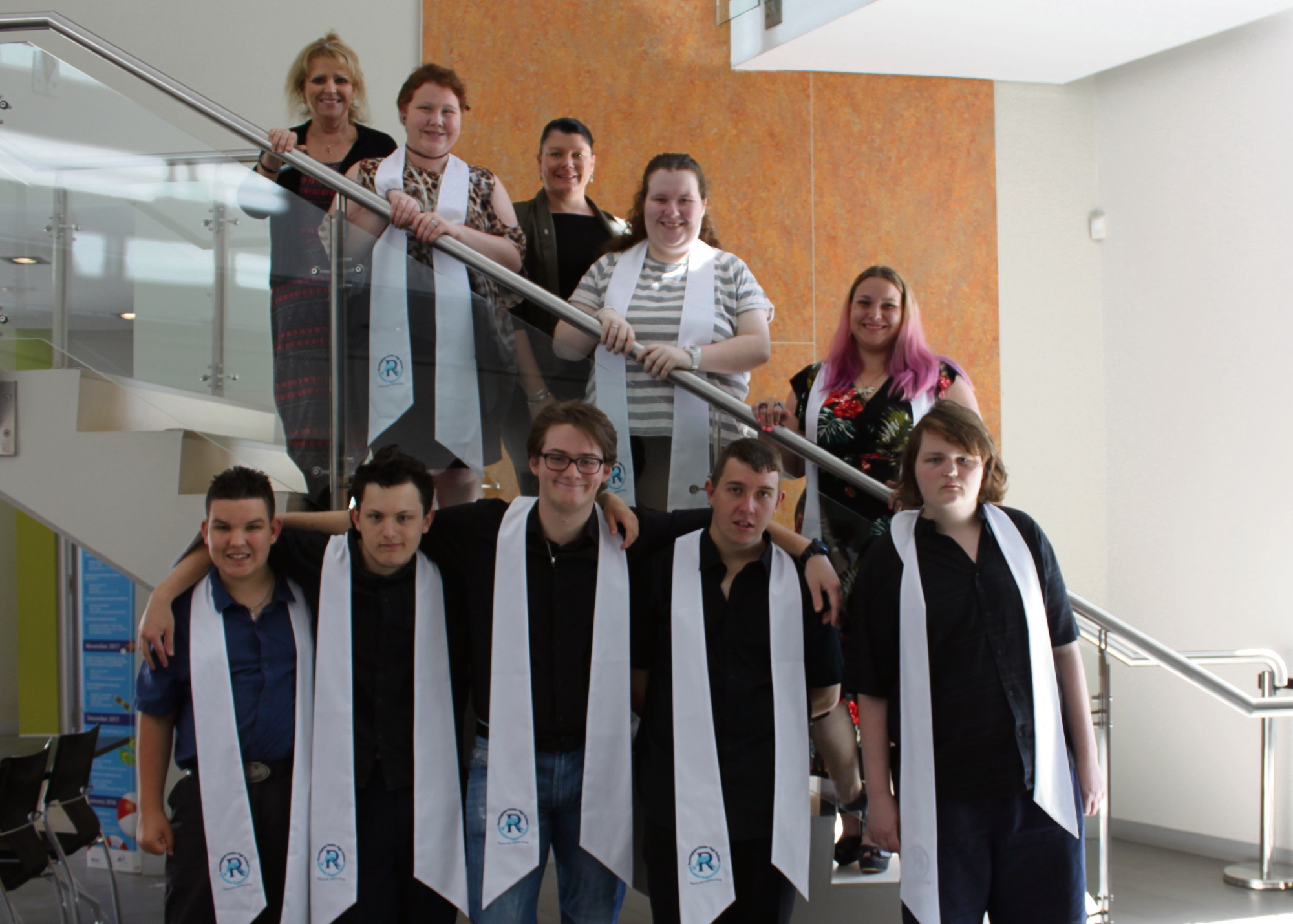 Principal Sally Pippen with the year 12 cohort.