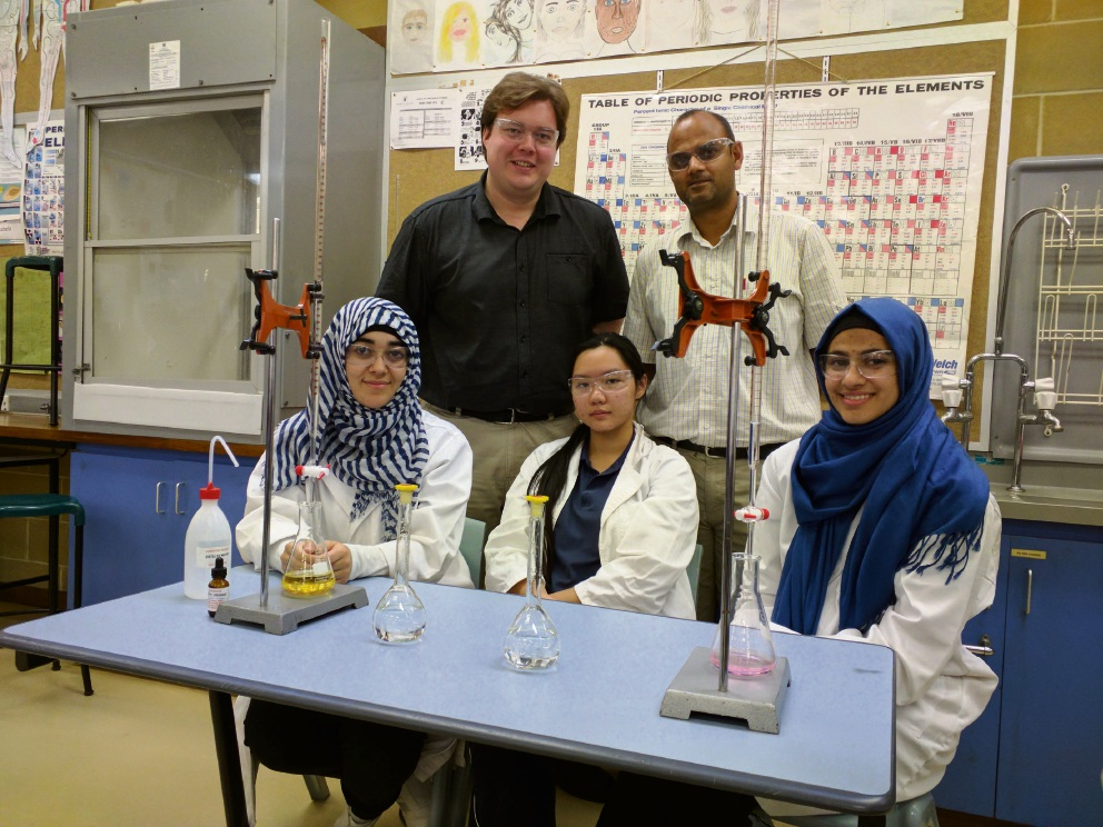 Belmont City College students Eman Mohamed, Li Quan, Hala Abu-Qamar with teachers Bradley Hearn and Amit Hosany.