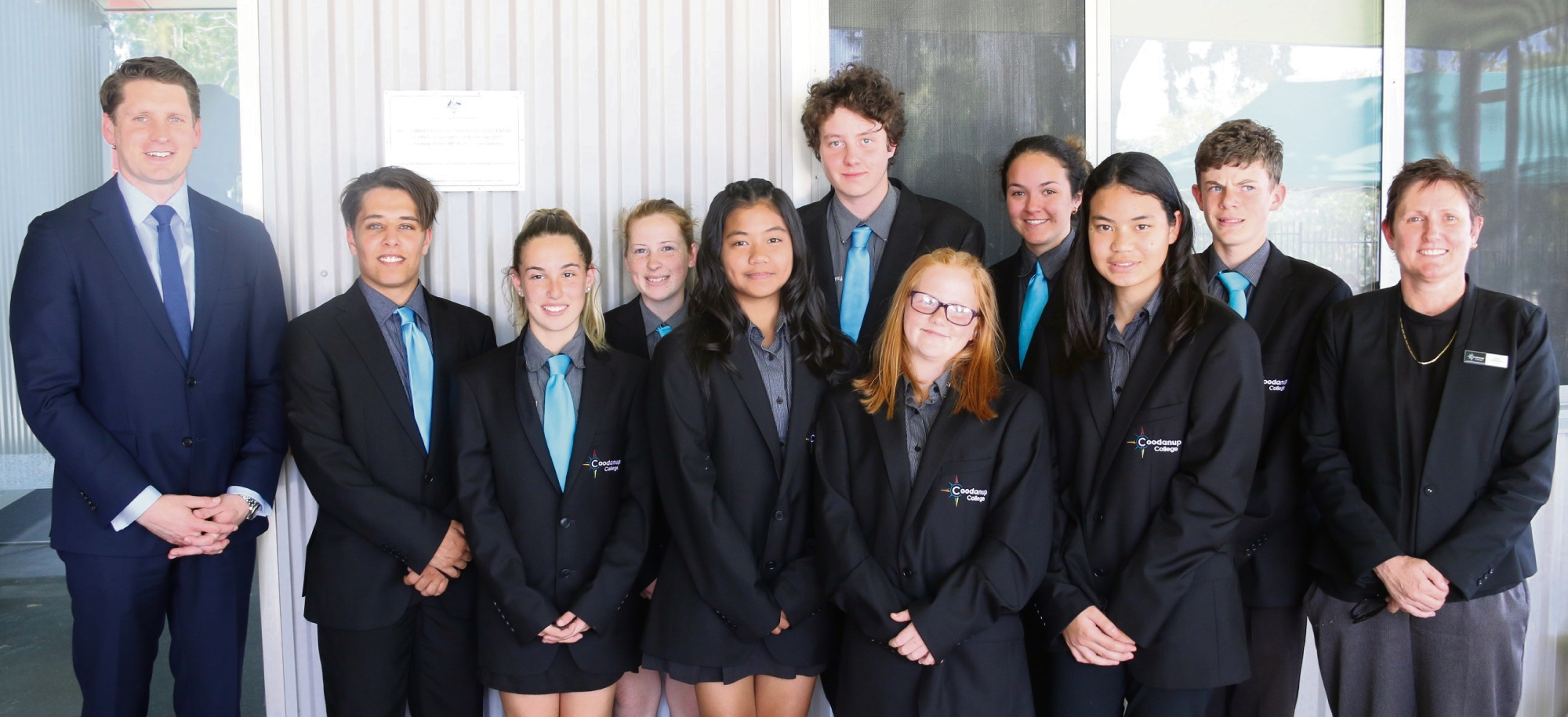 Andrew Hastie (far left) with students and principal Vicki McKeown (far right) at the trades skills centre opening.