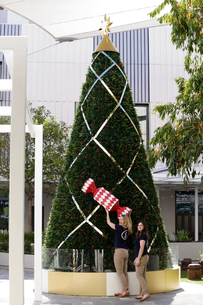 Shannon Pross and Natasha Weeks decorate the Whitford City tree.     d476060
