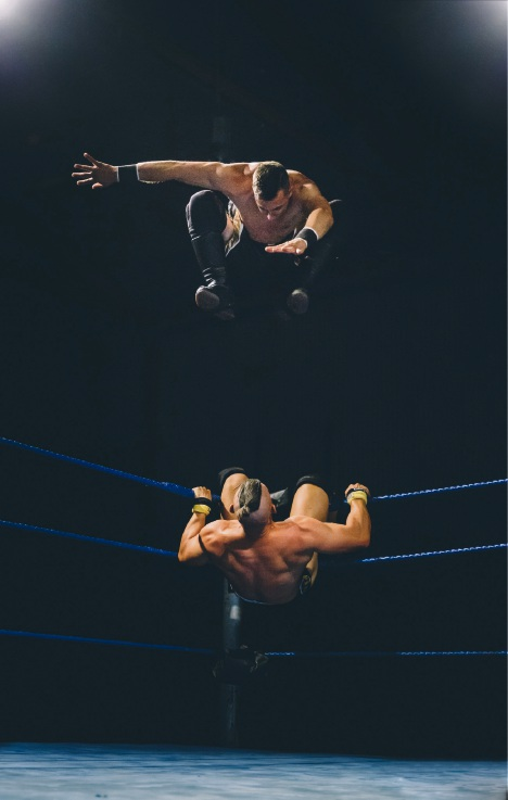 Shane Moutett (top) in action.