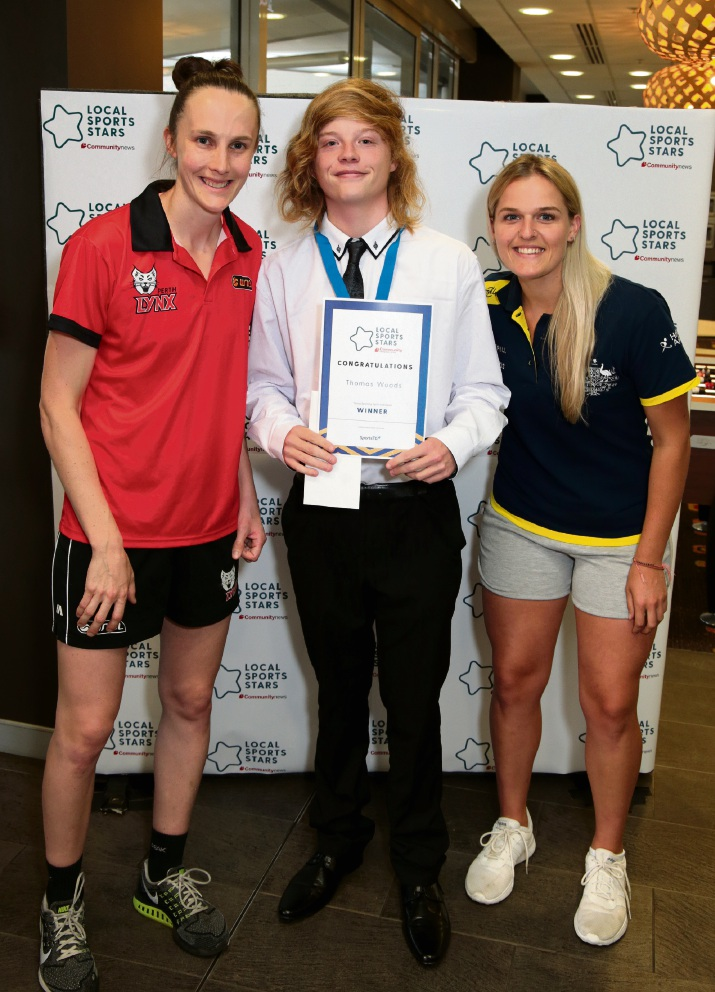 Toni Farnworth (co-captain of the Perth Lynx), Thomas Woods (Young Sporting Spirit Individual South) and Aleisha Power (Hockeyroo).