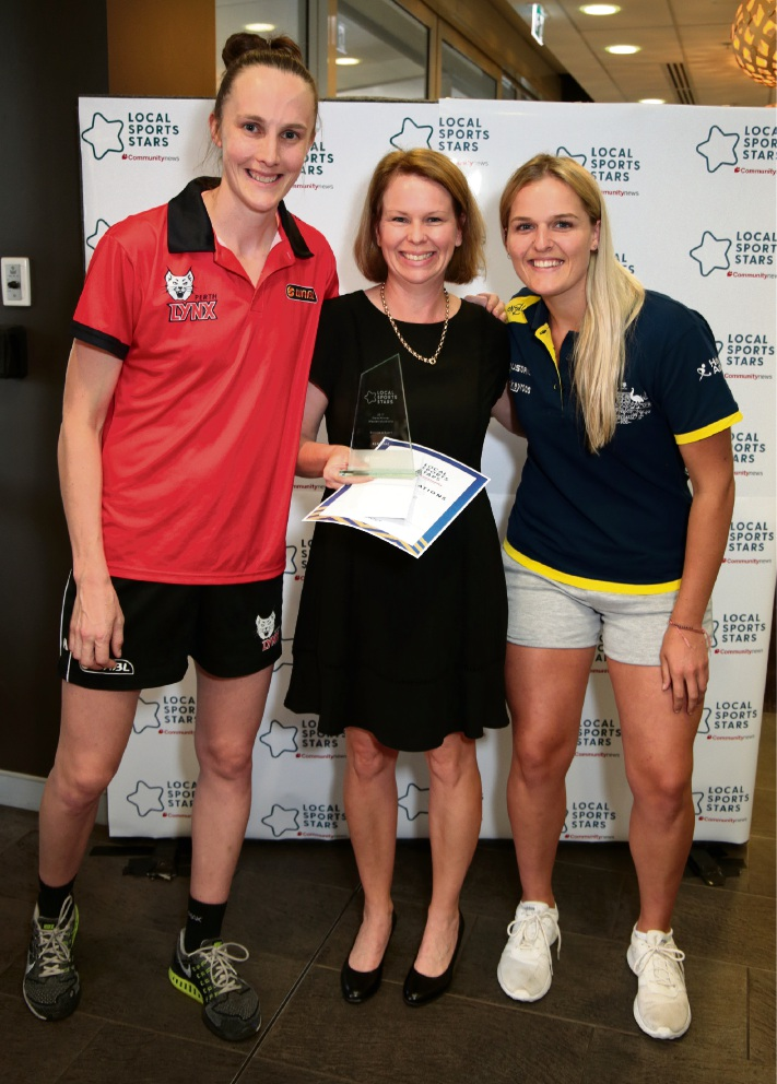 Toni Farnworth (co-captain of the Perth Lynx), Keryn Rae (Service to Sport) and Aleisha Power (Hockeyroo).