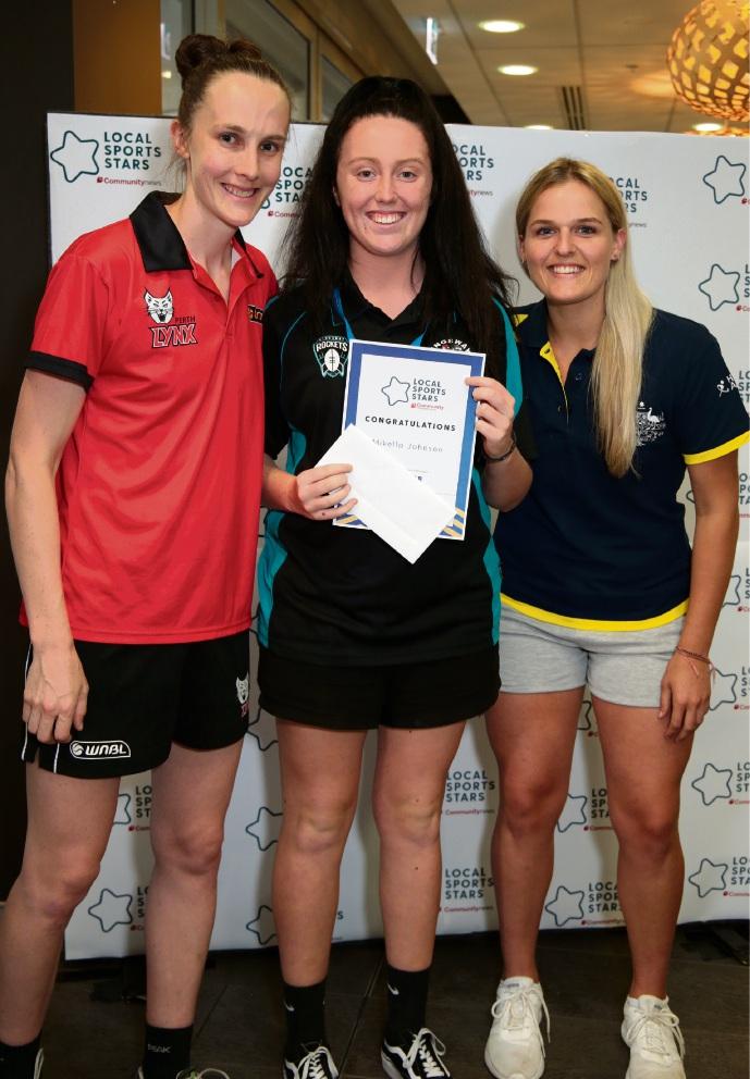 Toni Farnworth (co-captain of the Perth Lynx), Mikella Johnson (Young Sporting Spirit Individual North) and Aleisha Power (Hockeyroo).