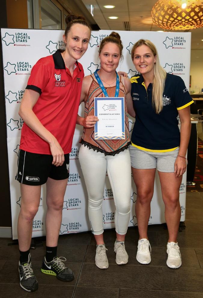 Toni Farnworth (co-captain of the Perth Lynx), Nikita Mawhirt (Junior Sports Star Individual Hills/East) and Aleisha Power (Hockeyroo).