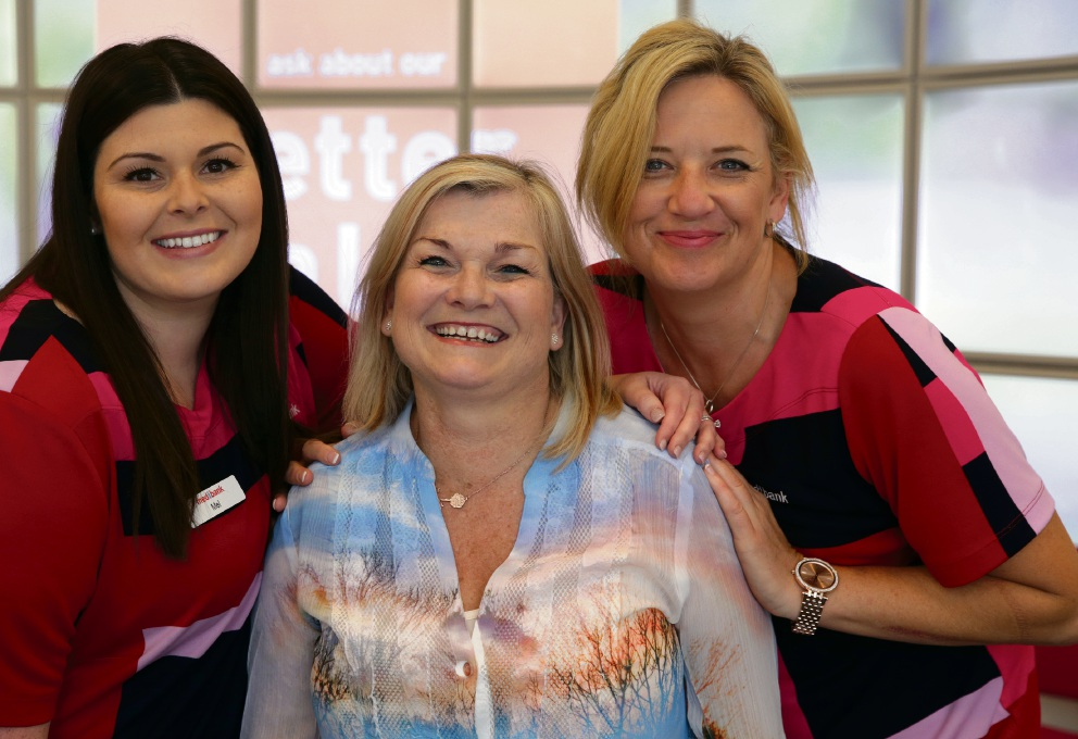 Melissa Bertolini and Jules Smart from Medibank with Charnay Finlayson (middle). Picture: Martin Kennealey d475967