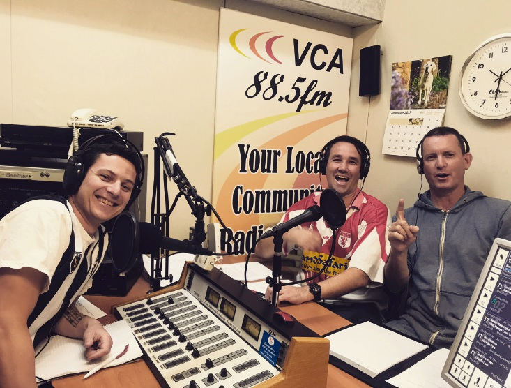 Alby, Donny and Brucey, hosts of Racio VCA 88.5fm's In The Sheds.