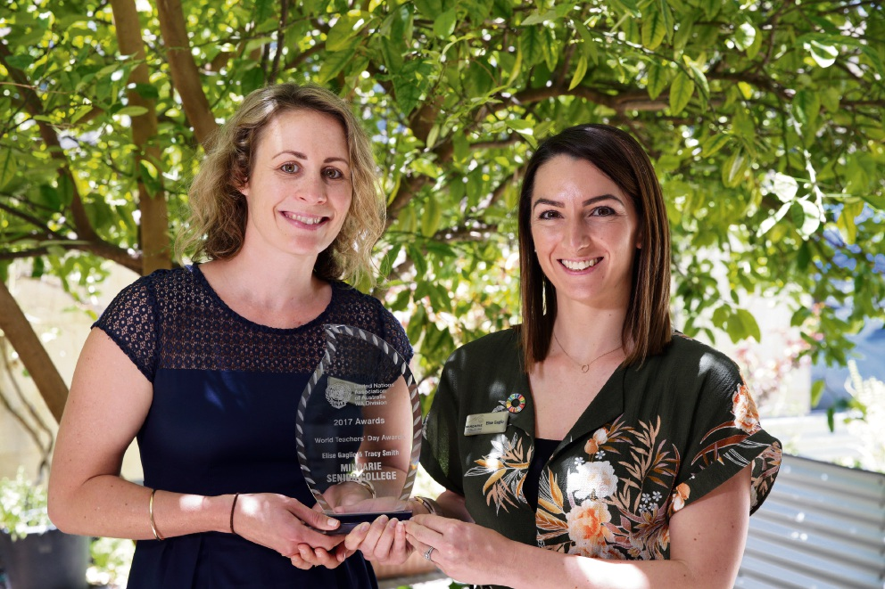 Mindarie Senior College teachers Tracy Smith and Elise Gaglio. Picture: Martin Kennealey d475922