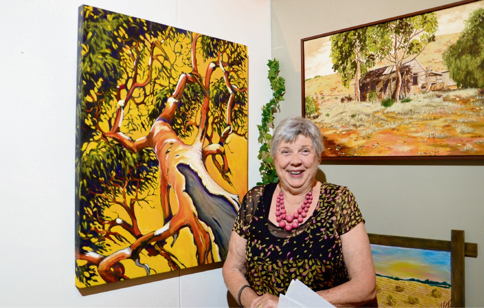 Jo Millington won the Merredin Shire acquisition prize for her painting (left) Salmon Gum.