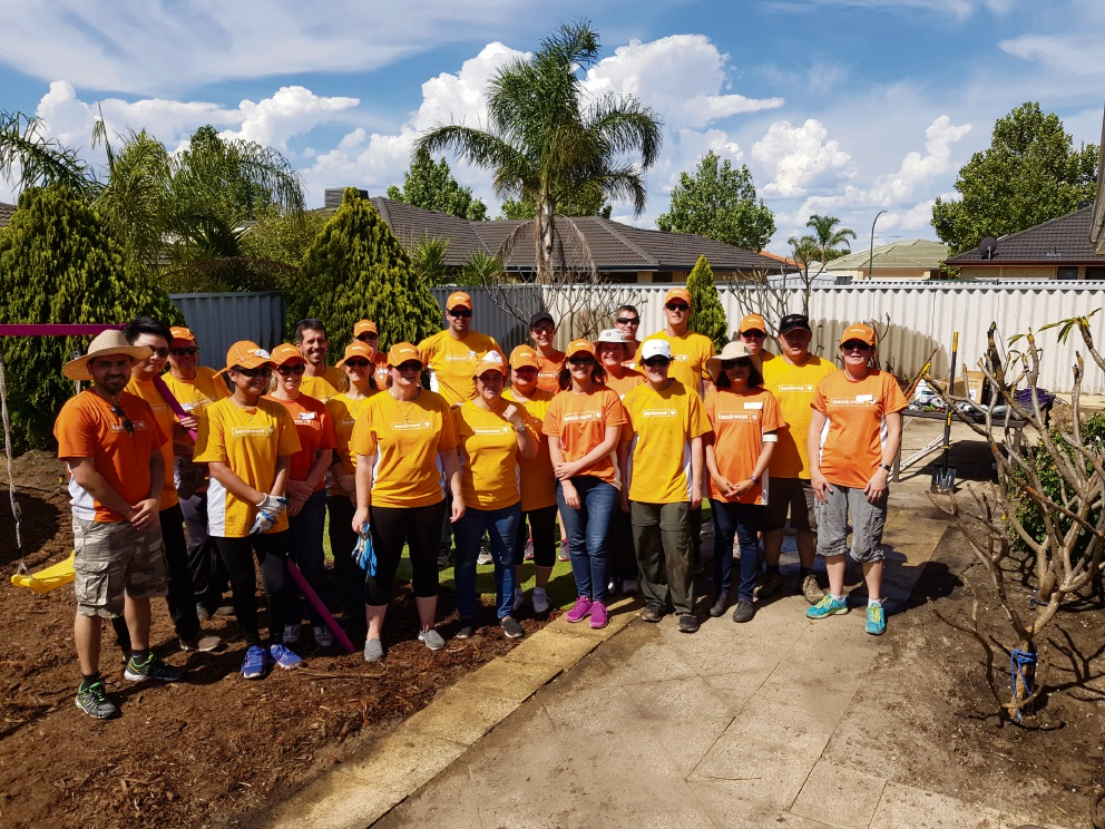 Bankwest volunteers helped out at a Port Kennedy resident who had been diagnosed with breast cancer.
