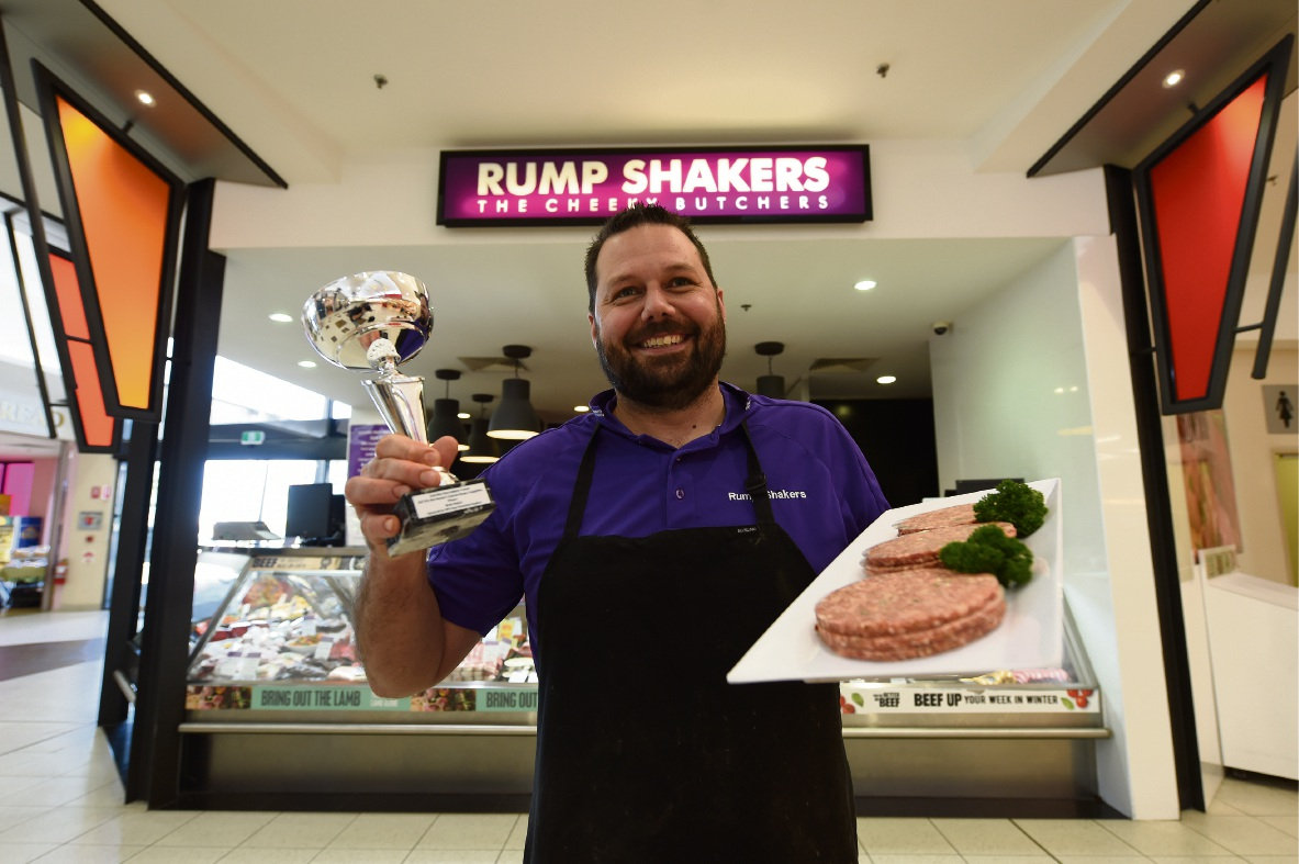 Rump Shakers owner John Bain with the prized patty.