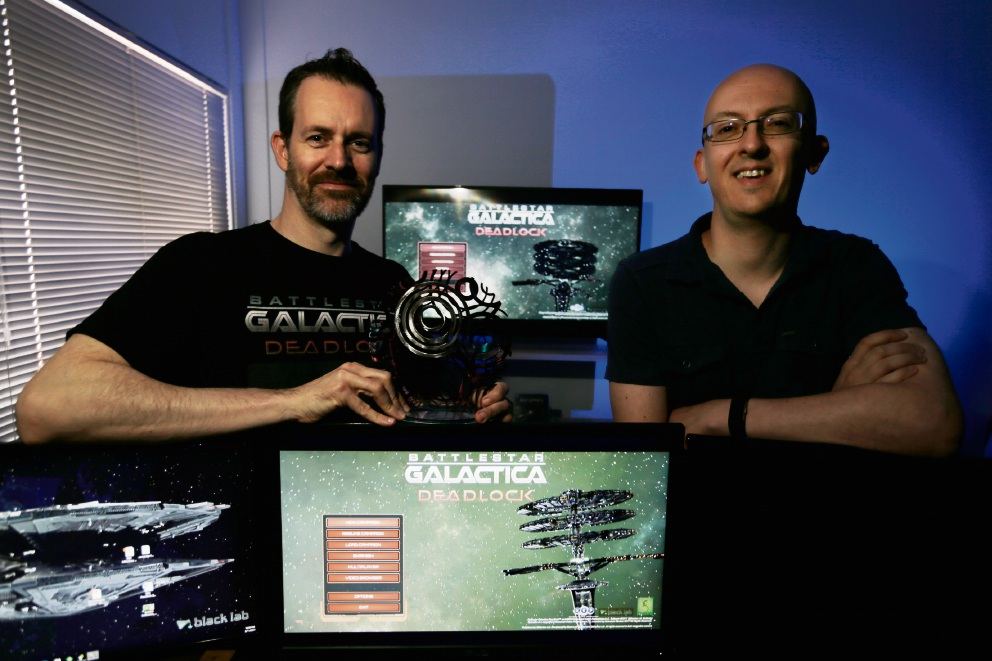 Director of Black Lab Games Paul Turbett and lead designer Anthony Sweet. Black Lab Games won a national award for their game Battlestar Galactica Deadlock. Picture: Andrew Ritchie