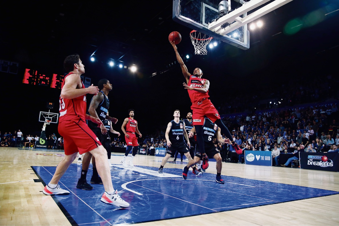 Bryce Cotton attempts a lay-up against New Zealand on Thursday. Picture: Getty Images