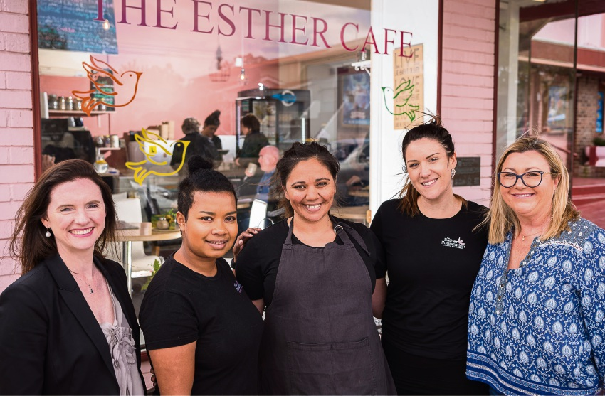 St Hilda's Parents and Friends President Sally Vasudavan, Miriam Ginger, Jasmin Gidgup, Anita Maxwell and P&F Vice President Neoma Higgins outside The Esther Cafe.