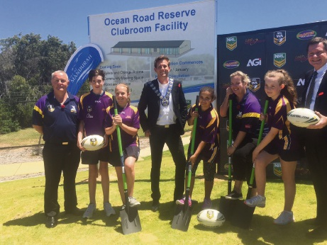 Turning the sod were Mandurah Storm vice-president Robert Lett, Mandurah Mayor Rhys Williams, Mandurah Storm president Jade Lund and NRLWA general manager John Sackson, helped by students.