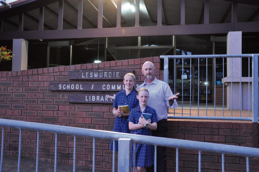 Justin O'Meara-Smith with his daughters Grace (11) and Lily (9) outside the Lesmurdie Library.