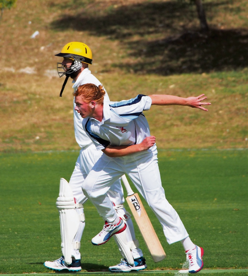 SJ Blues opening bowler Shawn Evans in action on Saturday.
