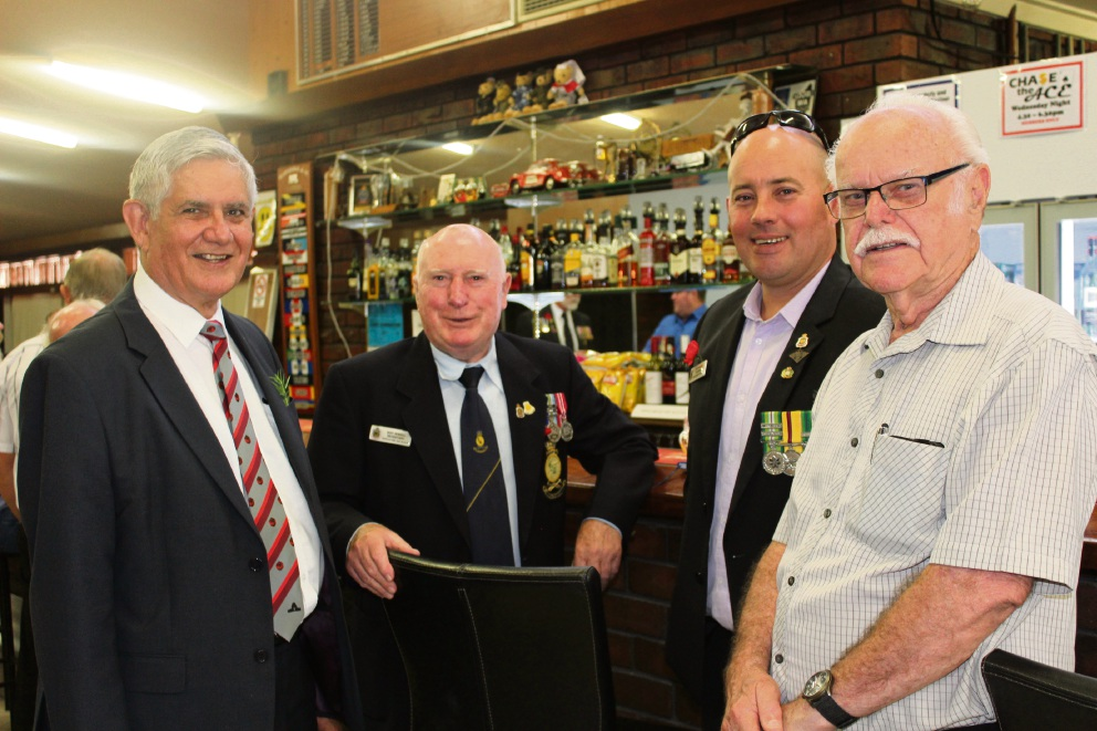 Ken Wyatt with Roy Jewell, Bellevue RSL president Scott Rogers and John Gaynor.